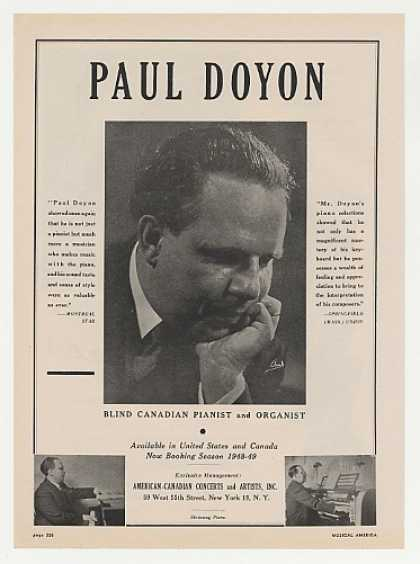 Pianist Paul Doyon Photo Booking (1948)