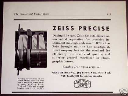 Zeiss Tessar Precise Camera Lens Lenses (1938)