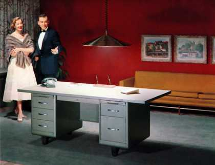 "Good reason for a celebration! Steel Age ""Correlation"" desk (1957)"