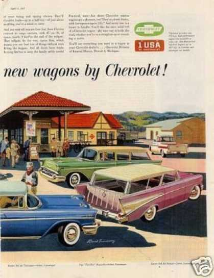 Chevrolet Cars Ad 2 Page (1957)