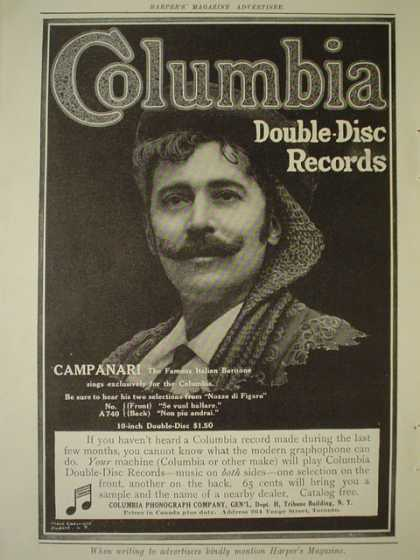 Columbia double disc records Campanari AND new Victor Records by Homer (1910)