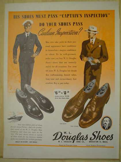 Douglas Shoes Captains inspection AND Mennen Baby Oil (1944)