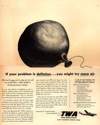 Trans World Airline's Business Travel – If your problem is deflation... you might try more air (1949)