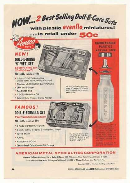 Amsco Toys Doll-E-Drink 'N' Wet Formula Sets (1955)