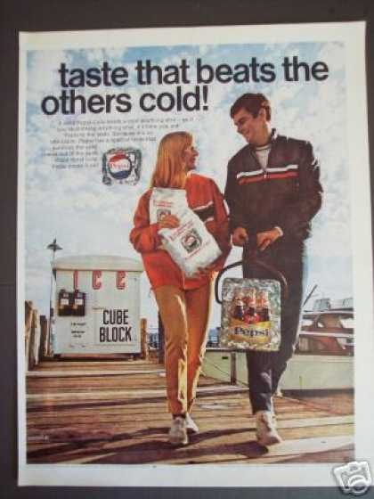 Pepsi Cola 6 Pack Bottles Boat Dock Soda (1968)