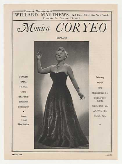 Opera Soprano Monica Coryeo Photo Booking (1948)
