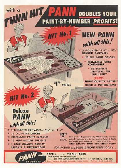 Pann Products Tiffin OH Paint-by-Number Trade (1954)
