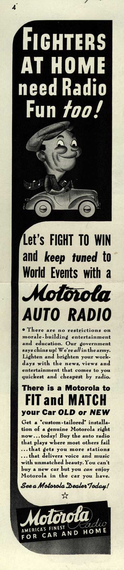 Galvin Manufacturing Corporation's Auto Radio – Fighters At Home Need Radio Fun Too (1942)