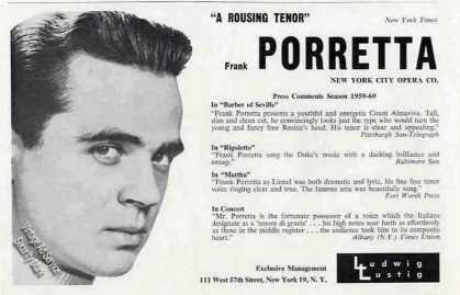 Frank Porretta Photo Tenor Opera (1960)