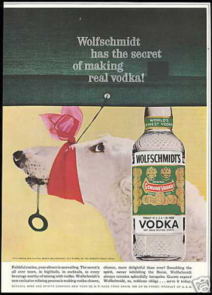 Borzoi Wolfhound Photo Wolfschmidt's Vodka (1959)
