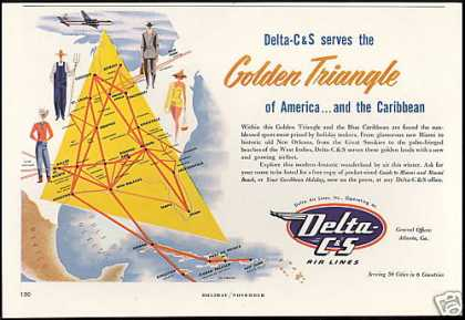 Delta C&S Airlines System Map (1953)