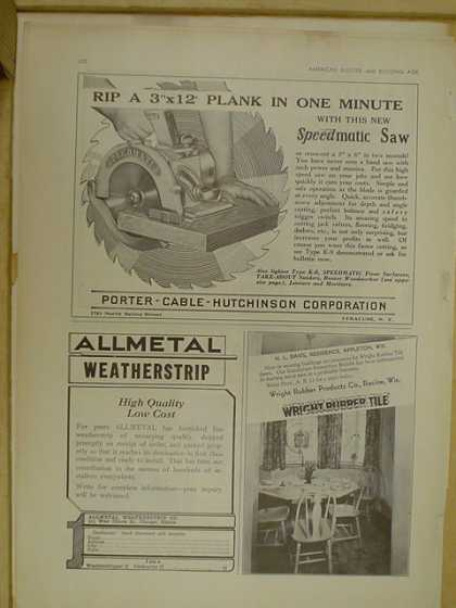 Portable Cable Hutchinson Corp Speedmatic saw AND Wright Rubber Tile AND Allmetal Weatherstrip (1930)