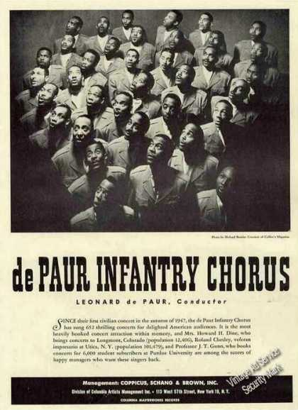 De Paur Infantry Chrous Photo Booking (1951)