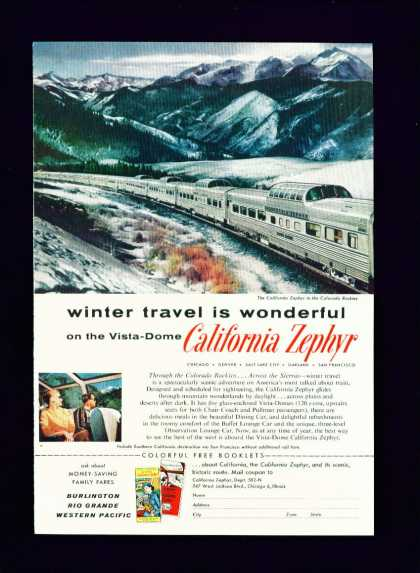 Vista Dome California Zephyr C Ad Nice Colors (1955)