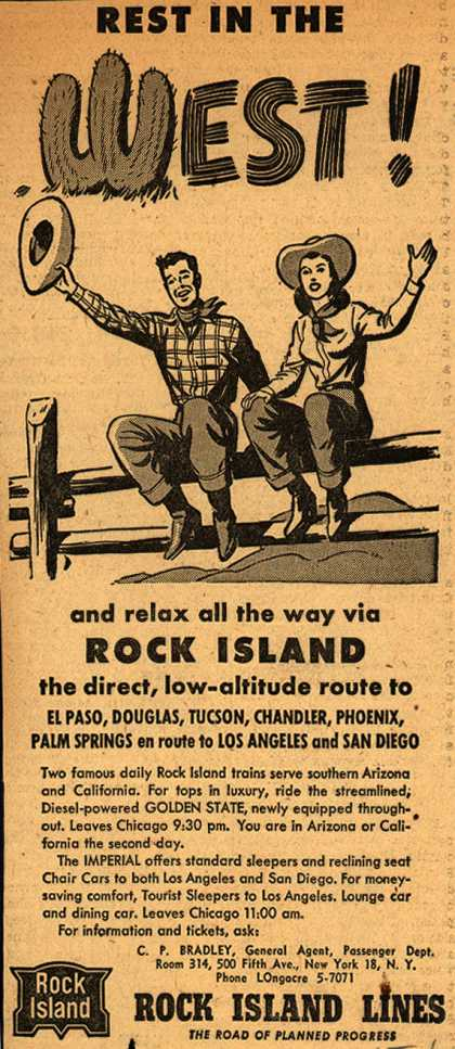 Rock Island Line's Southern Arizona and California – Rest in the West! and relax all the way via Rock Island (1947)