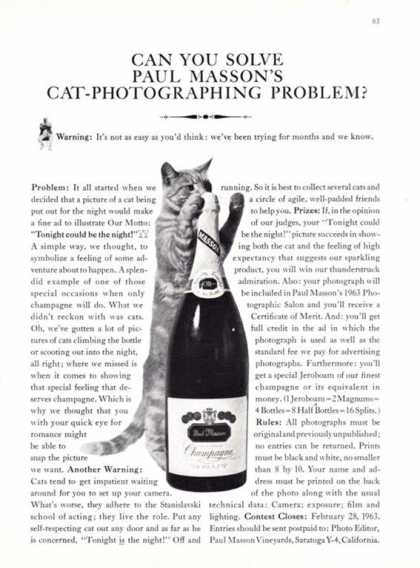 Paul Masson Brut Champagne Bottle – Cat (1962)