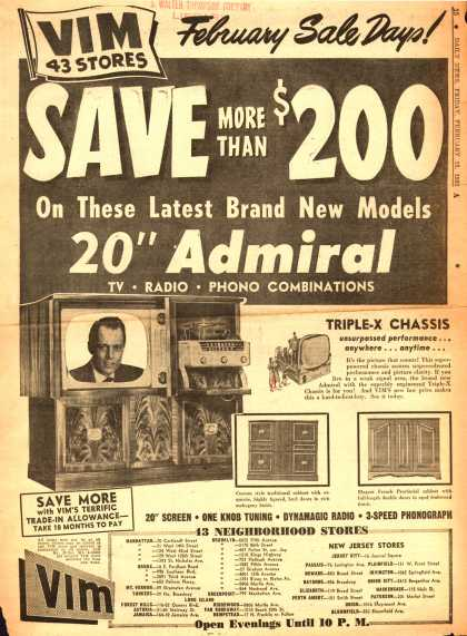 "Admiral Corporation's 20"" Admiral TV-Radio-Phono Combinations – Save More Than $200 On These Latest Brand New Models (1952)"