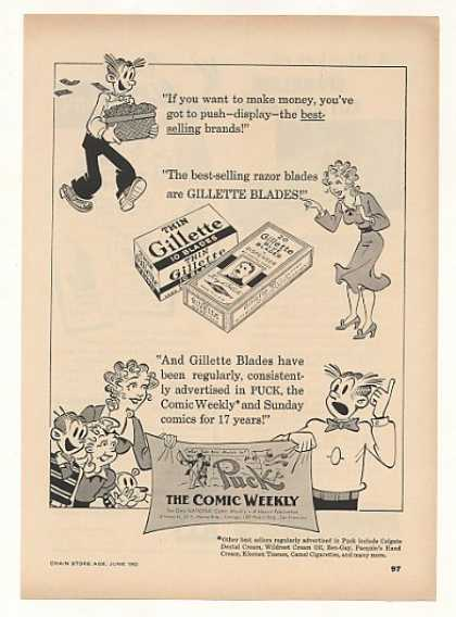 '52 Blondie Dagwood Gillette Blades Puck Comic Trade (1952)