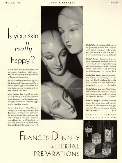 Denney & Denney's Herbal Preparations – Is your skin really happy? (1931)