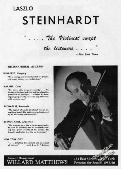 Laszlo Steinhardt Photo Violinist Trade (1955)