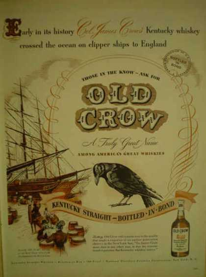 Old Crow Kentucky Straight Whiskey Clipper ships (1947)