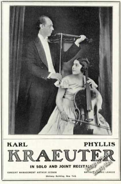Karl & Phyllis Kraeuter Photo Rare Ad Violin (1931)