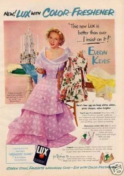Lux Soap Detergent Ad Evelyn Keyes (1951)