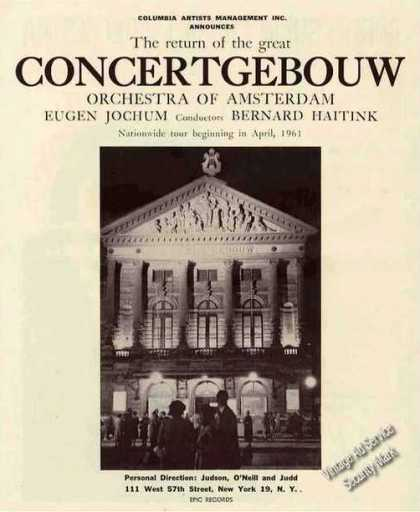 Concertgebouw Orchestra of Amsterdam Booking (1960)