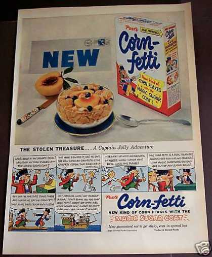 Post's Corn-fetti Corn Flakes Cereal (1953)