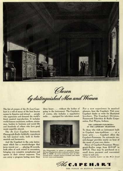 Capehart Corporation's Radio – Chosen by distinguished Men and Women (1940)