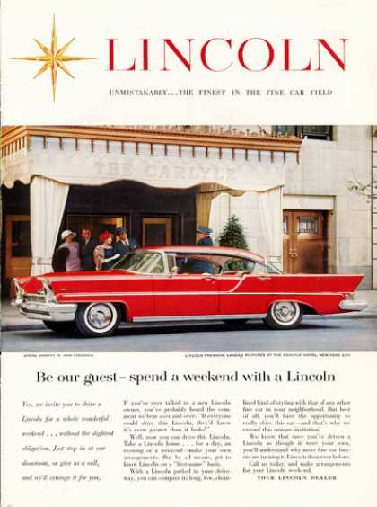 Lincoln Premiere Landau Caryle Hotel Ny Photo (1957)