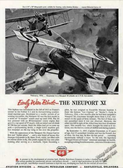 Phillips 66 Ad Early War Bird 1916 Nieuport Xi Art (1960)