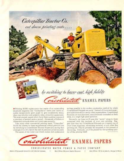 Caterpillar Tractor Loggin Cosolidated Paper (1950)