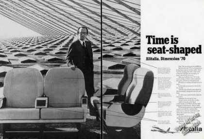 Alitalia Time Is Seat-shaped Dimension 70 (1970)