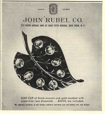 John Rubel Co. Gold Diamond Leaf Clip (1946)