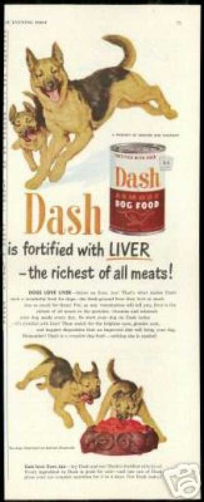 German Shepherd Puppies Dash Dog Food (1951)
