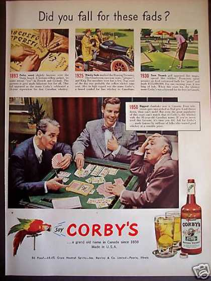 Fads of Past 1893 Ouija Board Corby&#8217;s Whiskey (1950)