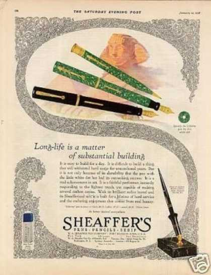 "Sheaffer's Fountain Pen Color Ad ""Long Life... (1928)"