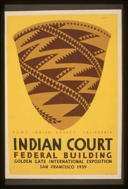 Indian court, Federal Building, Golden Gate International Exposition, San Francisco, 1939 – Pomo Indian basket, California / Siegriest. (1939)