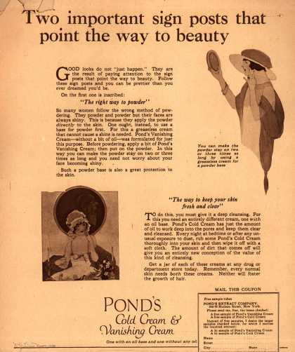 Pond's Extract Co.'s Pond's Cold Cream and Vanishing Cream – Two important sign posts that point the way to beauty (1920)