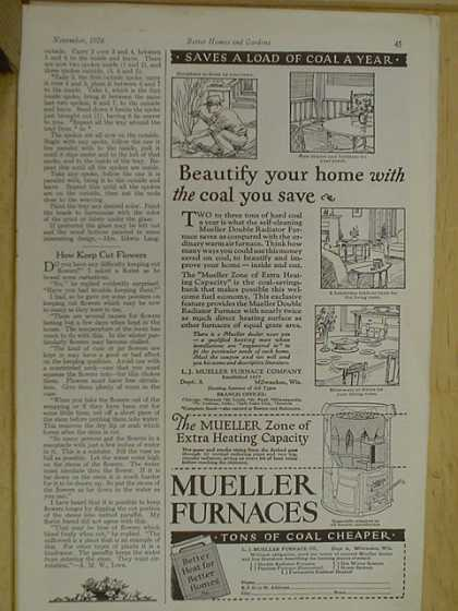 Mueller Furnaces. Tons of coal cheaper. Beautify your home with the coal you save (1926)