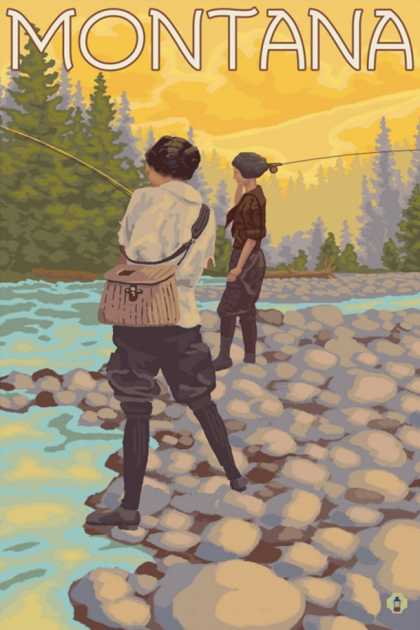 Women Fly Fishing, Montana