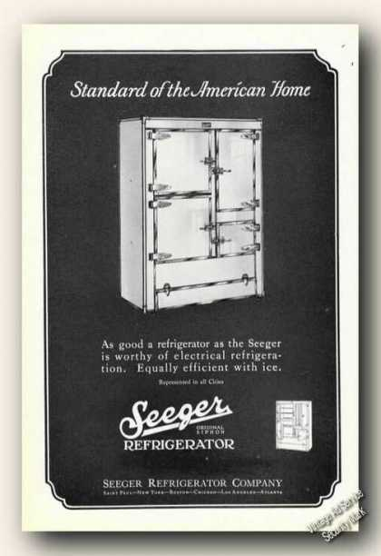 Seeger Refrigerator Electircal or Ice (1926)