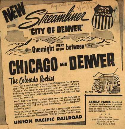 "Union Pacific Railroad's City of Denver – New Streamliner ""City of Denver"" Overnight Every Night between Chicago and Denver (1954)"