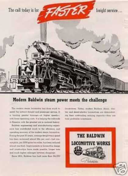 """Baldwin Locomotive Ad """"The Call Today Is For... (1942)"""