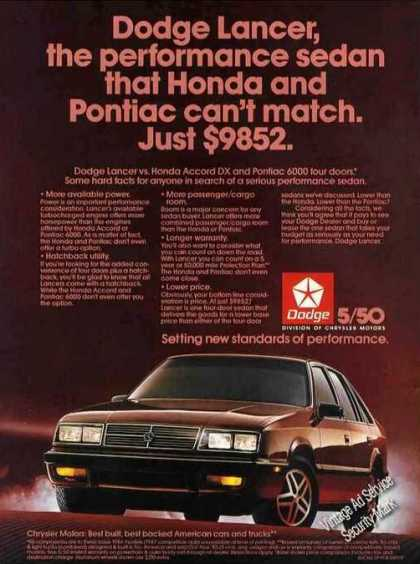 "Dodge Lancer ""Honda & Pontiac Can't Match"" (1986)"
