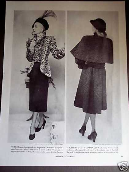 Ocelot Fur & Black Persian Lamb Coat Fashion Page (1947)