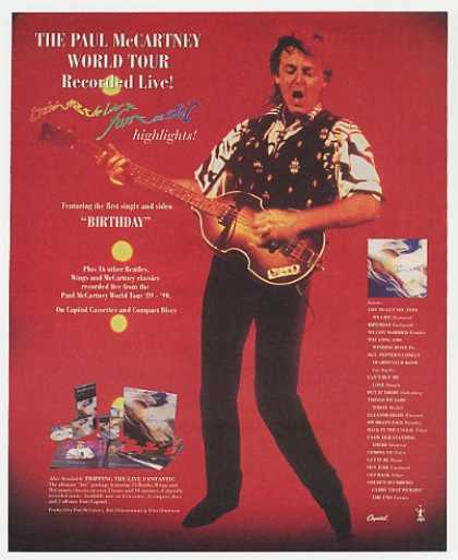 Paul McCartney World Tour Live Promo Photo (1990)
