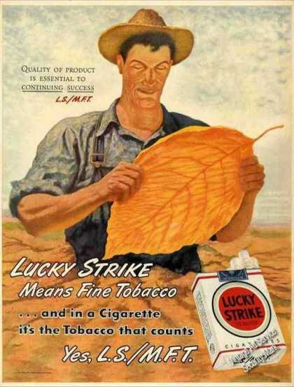 Lucky Strike Cigarettes Ad Farmer Holding Leaf Art (1946)
