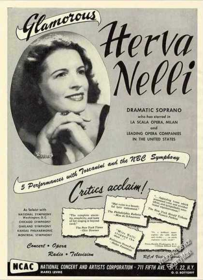 Herva Nelli Photo Dramatic Soprano Trade (1951)